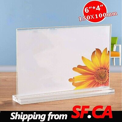 "Clear Acrylic Bottom Load Plastic Display Sign Holder Frame 6""x4""(W*H)"