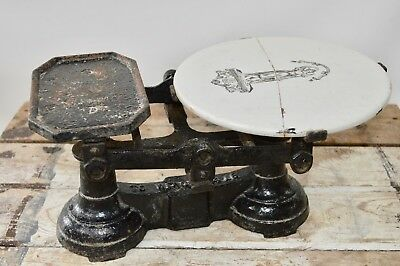 Antique Cast Iron Grocers / Butchers / Kitchen Scales with Ceramic Slab