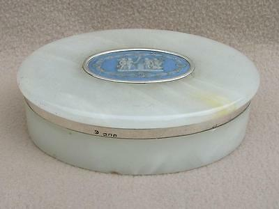 Antique George V C1916 Onyx & Silver Box With Wedgwood Plaque On The Top