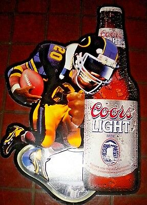 "Coors Light Beer Tin Sign Football Player 34"" high x 23"" wide"
