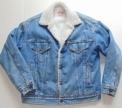 VINTAGE LEVI'S Trucker Jacket Sherpa Lining Made in USA Size Men's Small VGC