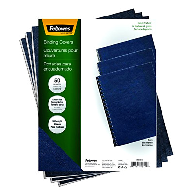 Fellowes Binding Grain Presentation Covers, Letter, Navy, 50 Pack (52124) .