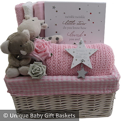 Baby gift basket/hamper with keepsake case girl baby shower nappy cake unique