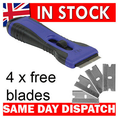 Brand New Glass & Ceramic Hob Scraper Knife Cleaner & 5 Blades Comfort Grip