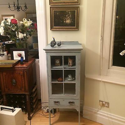 Art Nouveau Arts and Crafts solid oak french painted glazed cabinet shabby chic