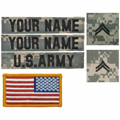 6 Piece Name Tape Set w/ Hook Fastener Backing - ACU