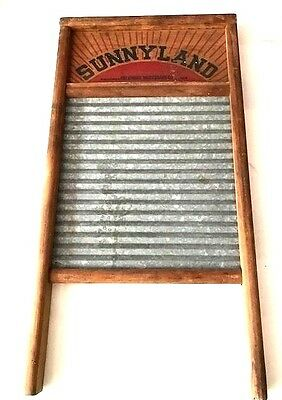 "Vintage Sunnyland Wood & Galvanized Metal Washboard  No. 2090 - 24"" x 12"""