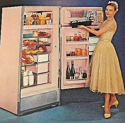 Vintage Mayfair Pink Frigidaire Ice Ejector 1950s 50s Fashions Refrigerator AD
