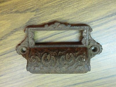 Antique Eastlake Ornate Drawer Pull Handle w/ Window for File