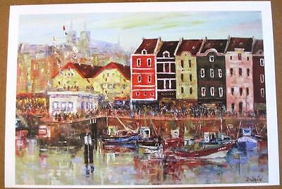 """Duaiv """"Afternoon at the Harbor"""" Plate Signed Fine Art Lithograph French Scenic"""