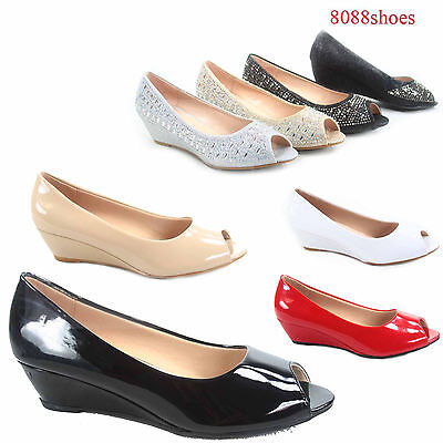 Women's Classic Fashion Open Toe Patent Glitter Low Wedge Pump Shoes Size 5 - 10