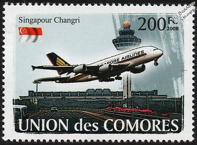Changi Airport & Singapore Airlines Airbus A380-800 Airliner Aircraft Stamp