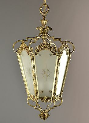 "LARGE 27"" Tall Italian Bronze Chandelier c1950 Vintage Antique French Light"