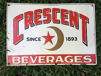 Vintage Crescent Beverages Embossed Drink Soda Sign