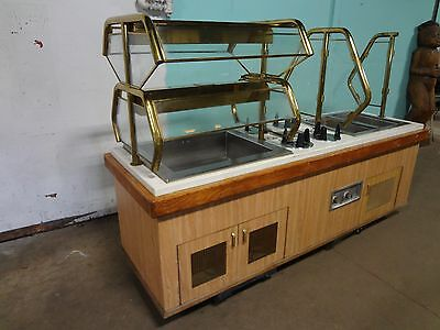 COMMERCIAL H.D.BUFFET TABLE w/2 HOT WELLS, COLD COMPARTMENT, SNEEZE GUARD, LIGHT