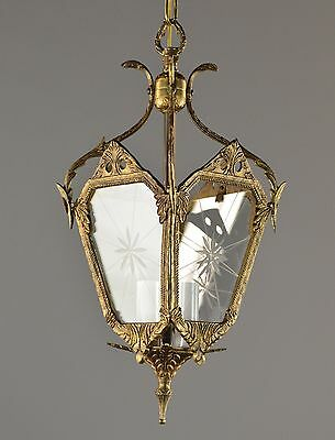 Spanish Brass & Glass Lantern c1950 Vintage Antique Ceiling Light French Gold