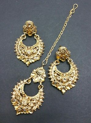 New Bollywood Elegant Small Indian Earrings and tikka costume in lct jewellery