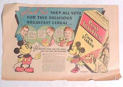 P765. Vintage: Disney MICKEY MOUSE CUT OUTS NEWSPAPER AD Post Toasties (1934) [