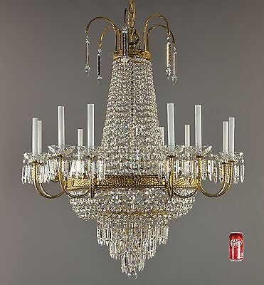 "Large 46"" Empire Bronze & Crystal Chandelier c1950 Vintage Antique Ceiling Light"