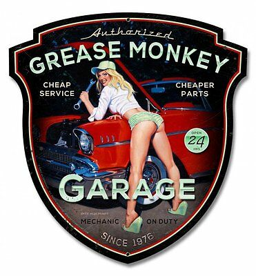 Grease Monkey Plasma Cut Pin Up Greg Hildebrandt Metal Sign