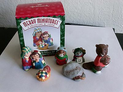 6 Hallmark Miniatures Carolers, Nativity, Rock, Football