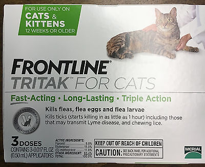 Frontline Tritak for Cats 3 Doses better then frontline plus