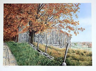 """Helen Rundell Hand Signed /# """"Round The Bend"""" Barn country scene lithograph"""