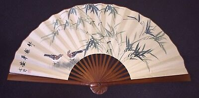 "36"" Vintage Chinese Folding Hand Painted Signed Wall Hanging Fan Oriental"
