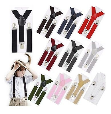 Boys Girls Kids Child Baby Children Clip on Y Back Elastic Suspenders US SELLER