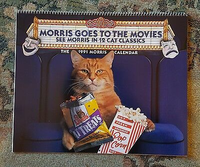 "Vintage 1991 MORRIS THE CAT Nine Lives ""Morris Goes to the Movies"" Calendar"