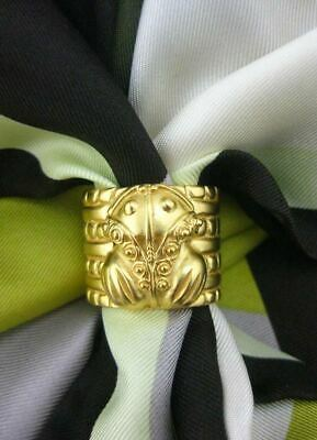 ACROSS THE PUDDLE 24k GP Pre-Columbian Embossed Frog Scarf Ring