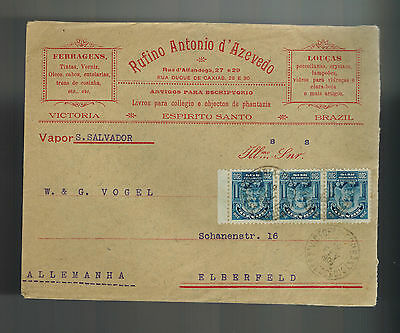 1909 Brazil Advertising Cover to Elberfeld Germany Kitchen ware Store