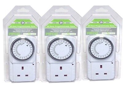 2x3x6 24 HOUR  MAINS PLUG IN TIMER SWITCH TIME CLOCK SOCKET UK 3 PIN LIGHTS