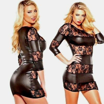 LH Sexy Wet Look Bodycon Black Dress Lace Mini Nightwear Short Maxi Outfit Panel