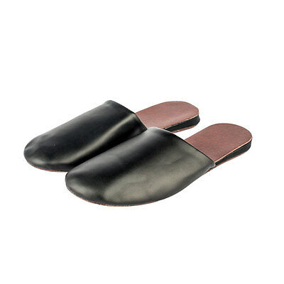 Mens Luxury Soft Sole Indoor Flat Shoes Cow Leather Closed Toes House Slippers