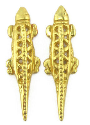 ACROSS THE PUDDLE 24k GP Pre-Columbian Carved Lizard (S) Drop Earrings