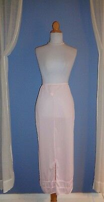 Vintage American Maid Scalloped Trim Blush Pink Nylon Tea Length Half Slip Pte