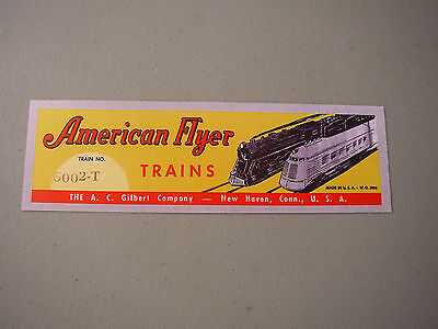 New Item! Repro American Flyer 5002 Circus Set Label Very Nice Peel And Stick!