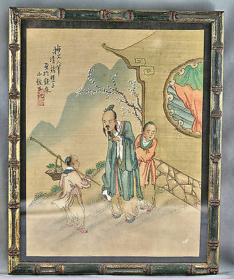 Exquisite Antique Chinese Original Painting Signed Framed Circa Late 1800s