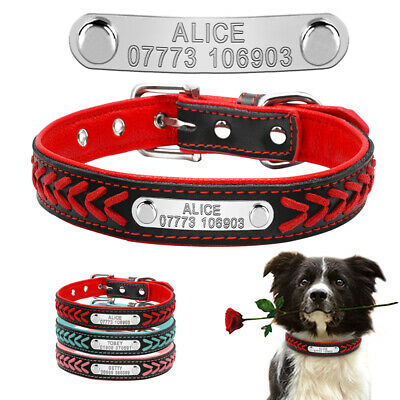 Braided Leather Personalised Dog Collars Custom Dog Tags Free Engraving S L Pink