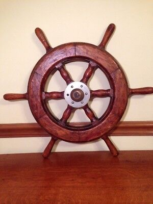 """Vintage Wooden Ships Wheel 24"""" Authentic Wheel"""