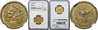 1851 $5 Gold Coin NGC AU-55