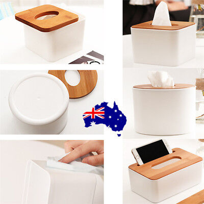 Hot Plastic Room Car Hotel Tissue Box Wooden Cover Paper Napkin Holder Case ON