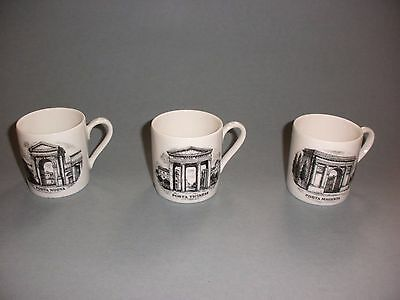Fornasetti Le Porte Di Milano 3 Porcelain Cups Signed Limited Edition Mint