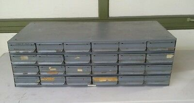 VTG Equipto Cabinet Industrial Steel Tool Parts Storage Unit  6x4 24 Drawers #2