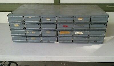 VTG Equipto Cabinet Industrial Steel Tool Parts Storage Unit  6x4 24 Drawers