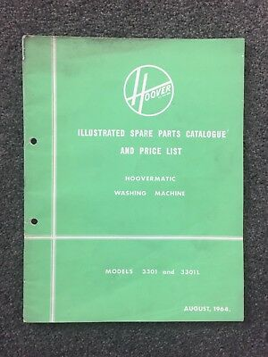 Hoover Washing Machine Illustrated Parts Catalogue And Price List Aug 1964