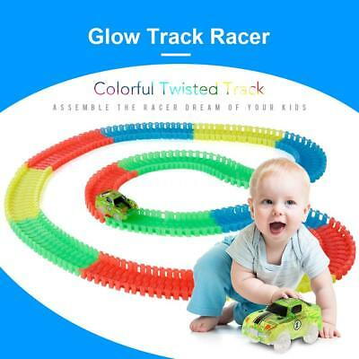220Pcs Flexible Track Race Car Set Glow-In-The-Darkness w/ LED Light Car Toy