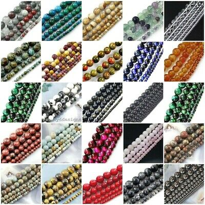 "Natural Gemstone Round Loose Bead 4mm 6mm 8mm 10mm 12mm 15"" strand wholesale"