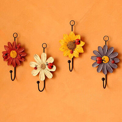 Wall Mounted Vintage Flower Hat Coat Hook Door Clothes Hanger Bathroom Towel set